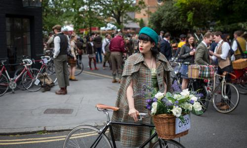 Participants gather in Clerkenwell, London, ahead of the annual Tweed Run that sees cyclists in vintage and period dress ride through the city.