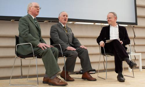 Memory Marathon  Serpentine Galleries, 12 and 14 October 2012 Pictured: Gilbert & George with Hans Ulrich Obrist