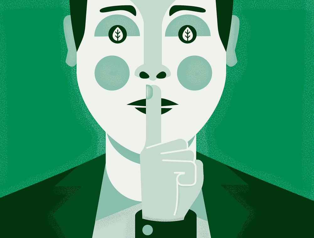 Illustration of businessman with finger to his lips all in green