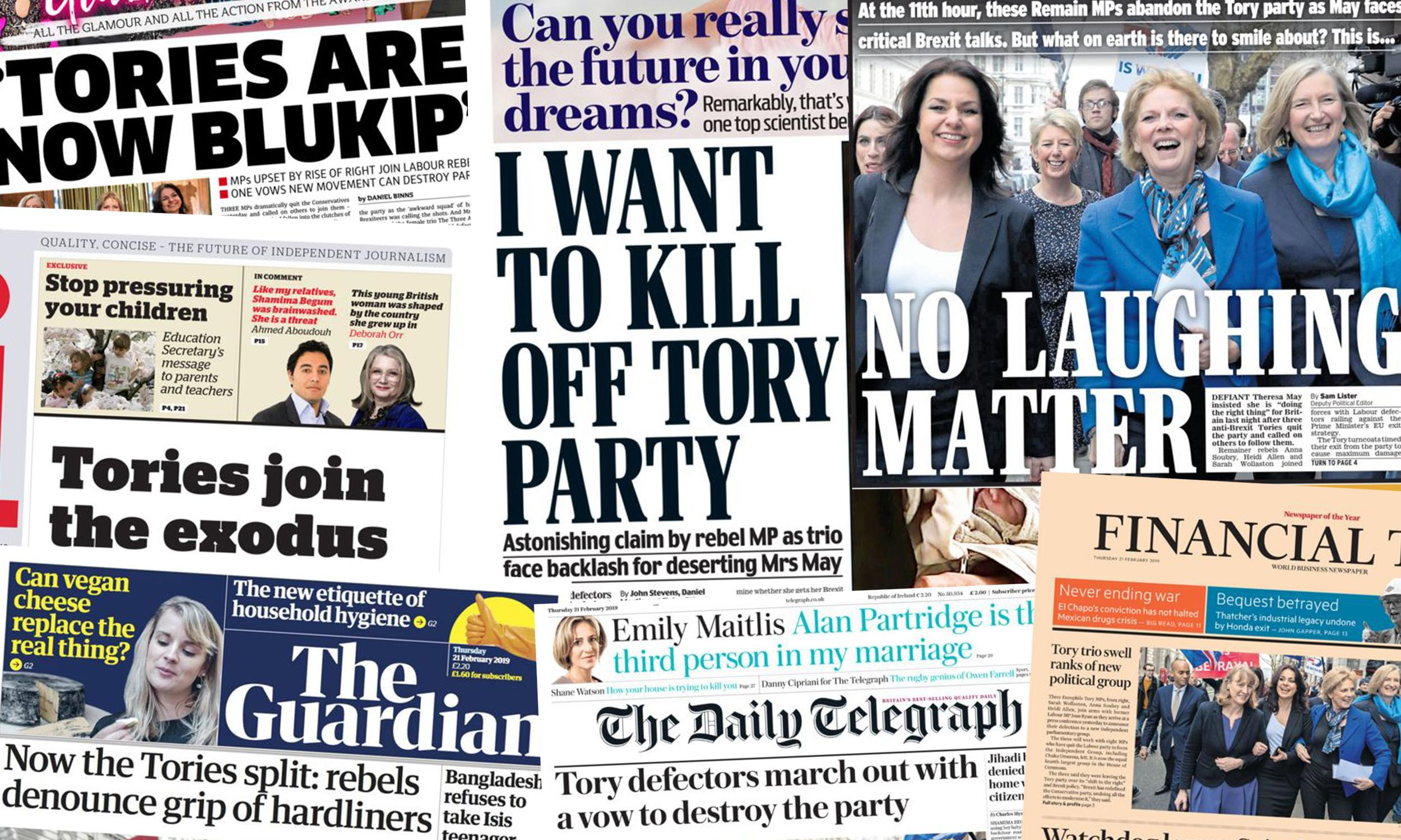 'Tories in meltdown': what the papers say about party split