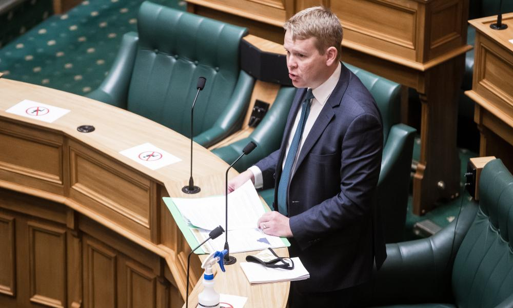 New Zealand's Covid-19 responde minister Chris Hipkins during question time in parliament in Wellington.