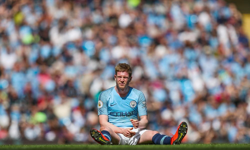 Kevin De Bruyne of Manchester City is looks disappointed after picking up another injury.