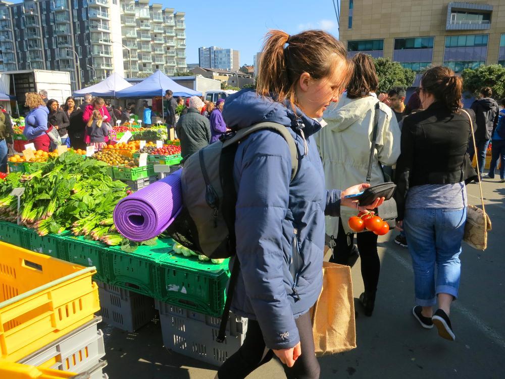 Wellingtonians shop for fruit and vegetables at Sunday morning's Harbourside market