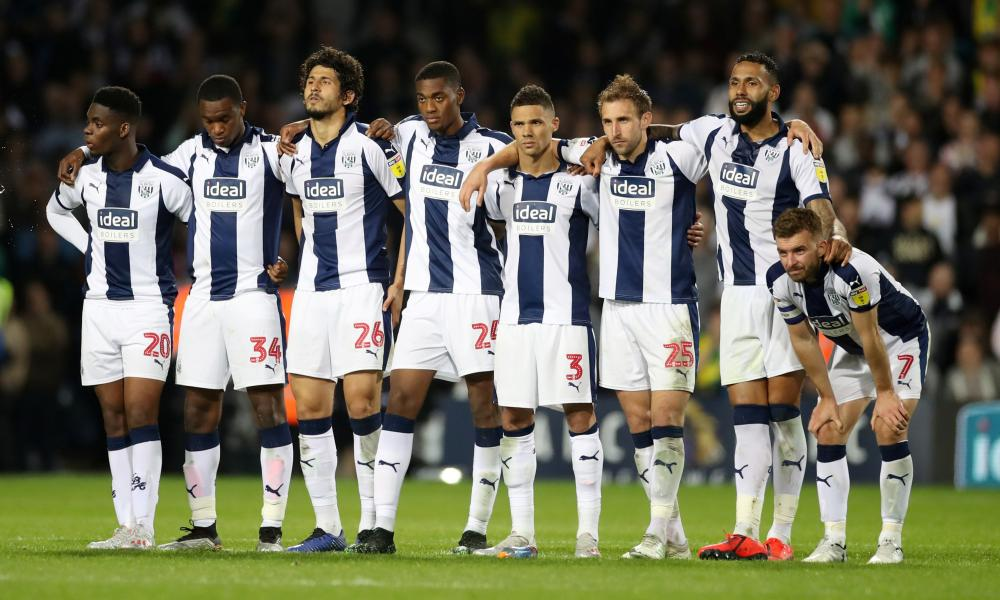 West Bromwich Albion players during the penalty shootout.