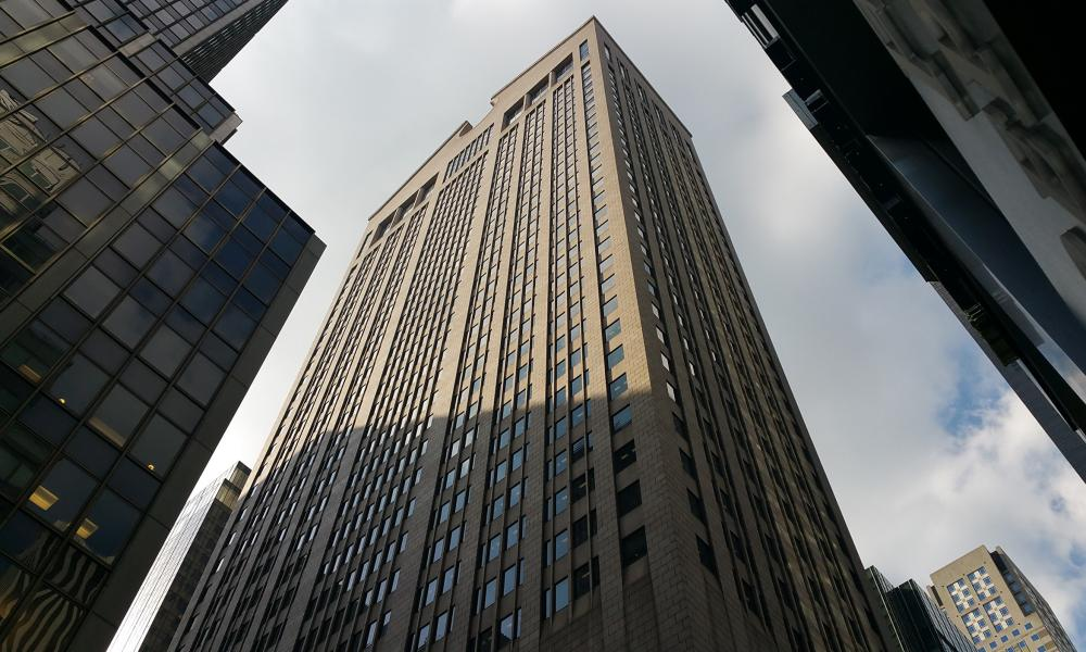 Philip Johnson's AT&T building at 550 Madison Avenue in Manhattan, New York
