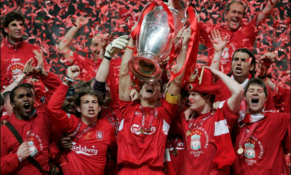Istanbul and all that: Liverpool celebrate with the trophy after their remarkable win over Milan having trailed 3-0 at half-time in the 2005 final.