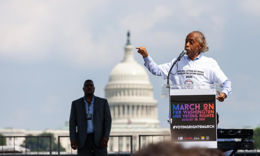 The Rev Al Sharpton speaks at the flagship event of a nationwide march for voting rights on the 58th anniversary of the March on Washington.