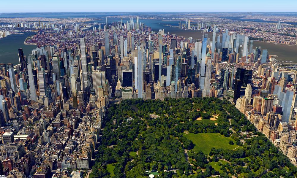 A CGI rendering of the future Manhattan skyline around Central Park.