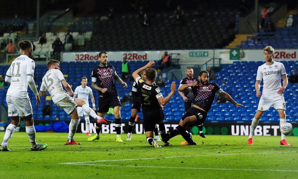 Leeds' Stuart Dallas slots in the equaliser.