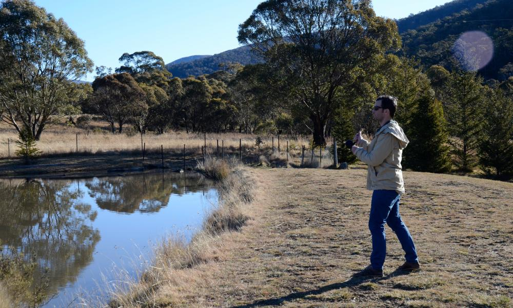 Flyfishing at Moonbah huts, 30 minutes from Jindabyne.