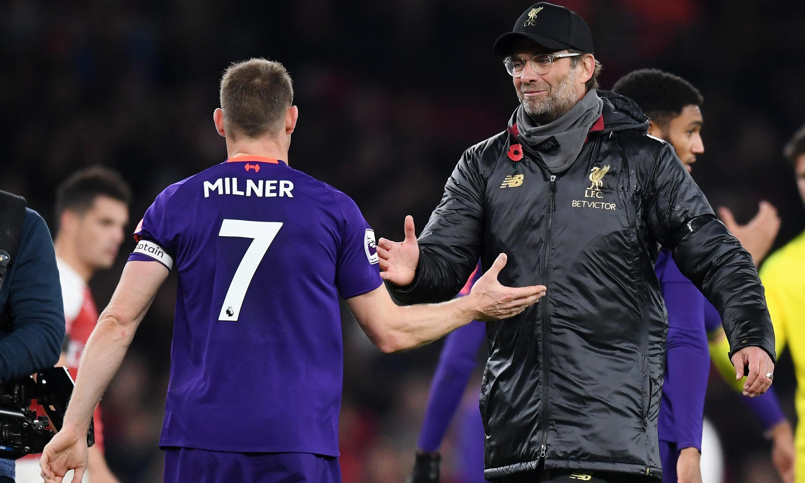 James Milner fired up Liverpool team-mates during Arsenal draw, says Klopp