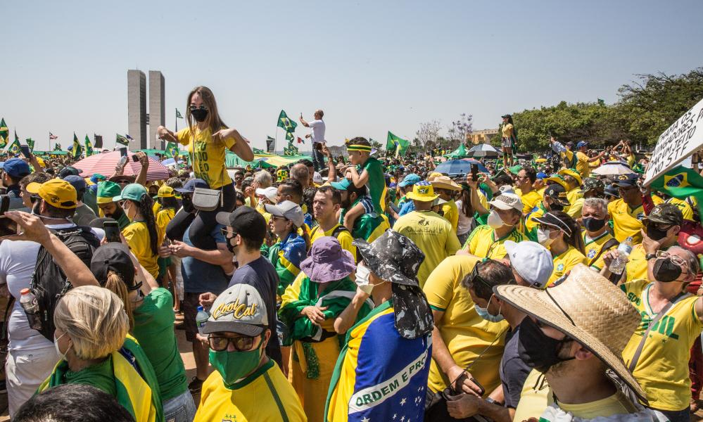 Bolsonaro supporters gather in Brazil.