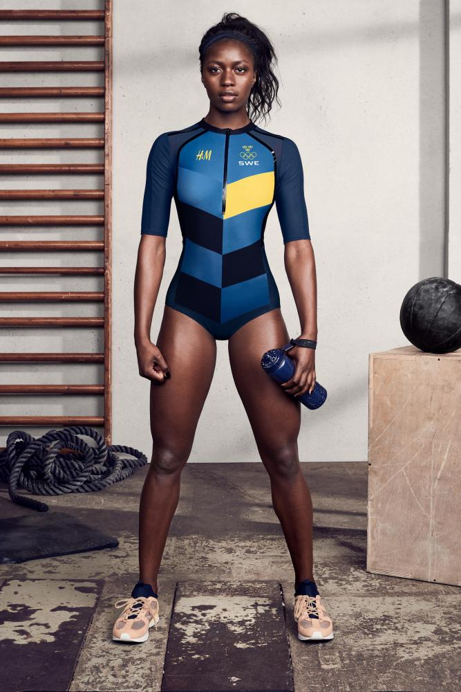 A leotard from the H&M Sweden Olympic uniform.