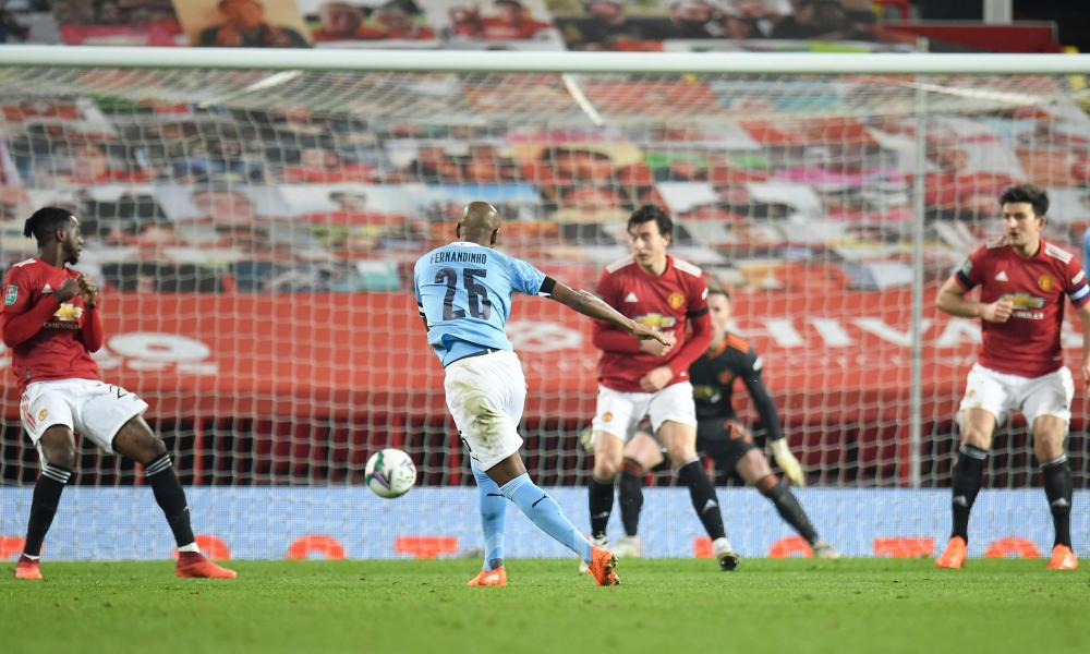Manchester City 's Fernandinho scores their second goal.
