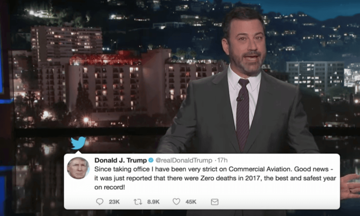 Late-night on Trump: not since Harrison Ford was president have we felt so safe