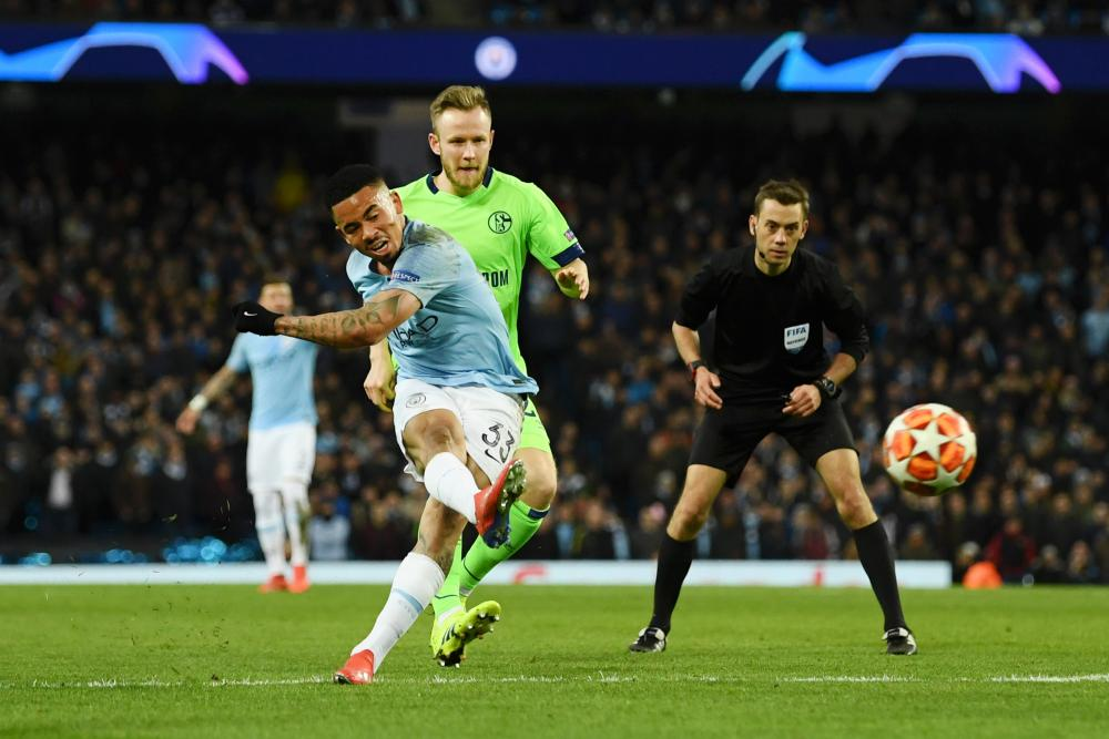 Gabriel Jesus of Manchester City scores his team's seventh goal.