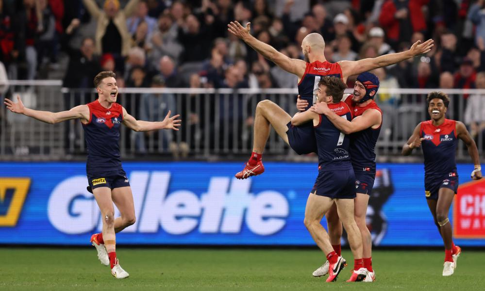Max Gawn of the Demons celebrates during the first AFL 2021 preliminary final between Melbourne and Geelong at Optus Stadium in Perth.