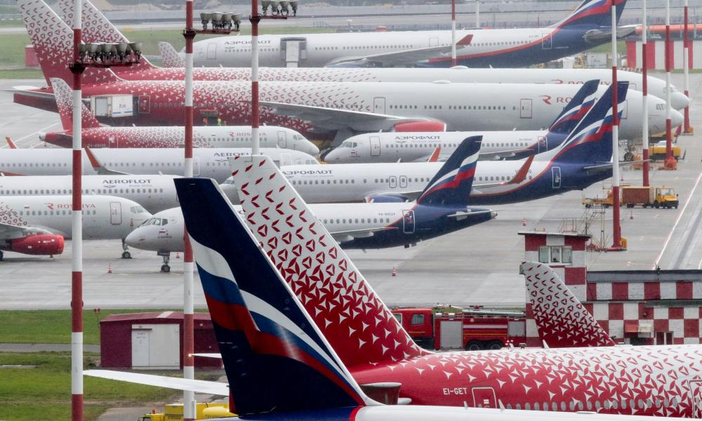 Aeroflot Russian Airlines and Rossiya Airlines jet aircrafts at Moscow-Sheremetyevo International Airport.