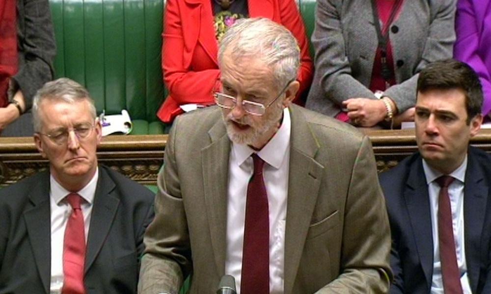 Jeremy Corbyn in the Commons earlier today.