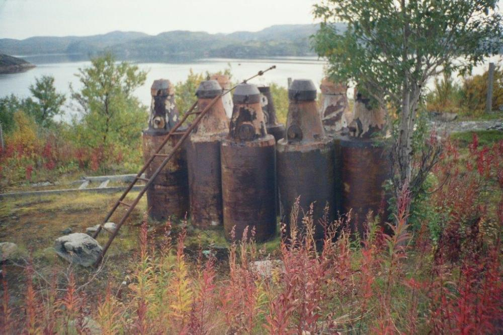 "Spent nuclear fuel stored in so-called ""bottles"" at an open-air site in Andreyeva Bay"
