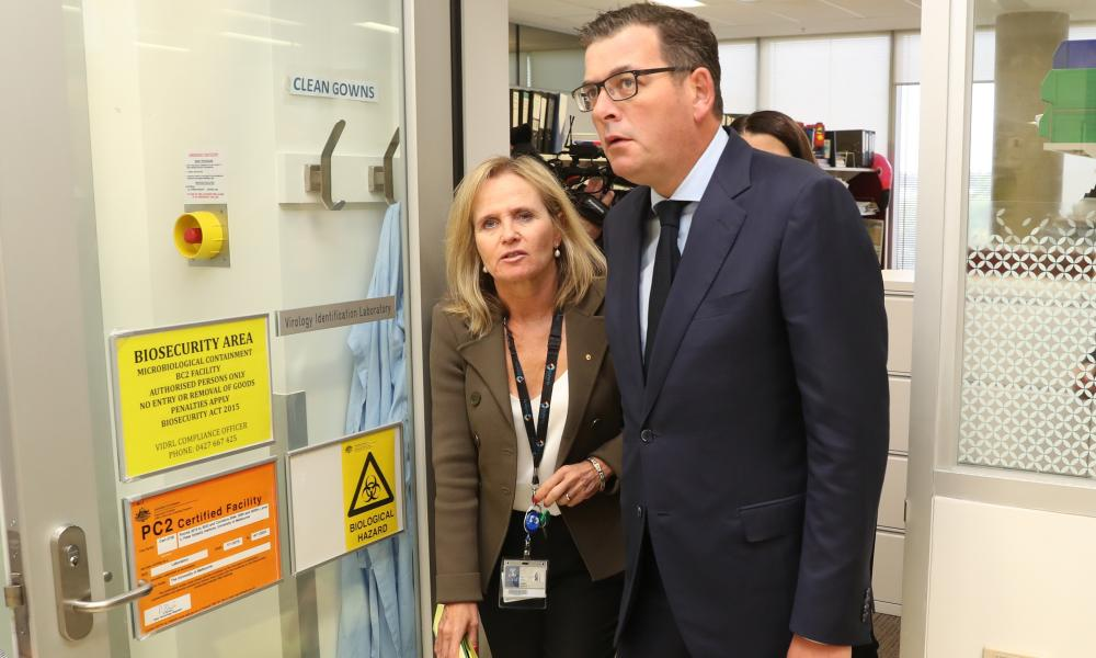 Victorian Premier Daniel Andrews at the Doherty Institute in Melbourne with Professor Sharon Lewin.