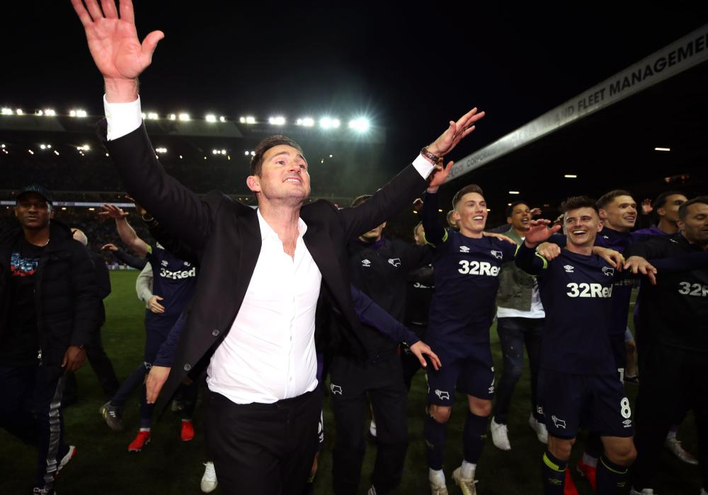 Frank Lampard leads the Derby celebrations at Elland Road.