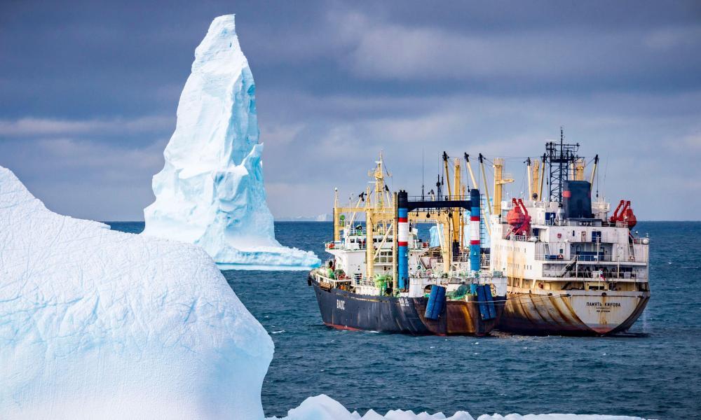 Krill fishing boats amid icebergs in Antarctica