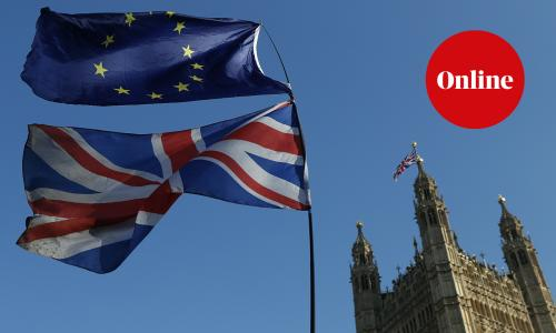 The flag of the European Union and the British national flag are flown on poles during a demonstration by remain in the EU outside the Palace of Westminster in London.