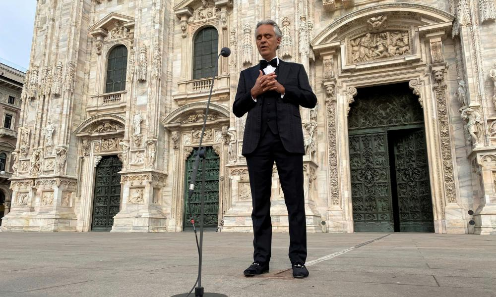 Italian opera singer Andrea Bocelli rehearsing in an empty Duomo square on Easter Sunday ahead of a livestreamed concert inside the empty Duomo cathedral.