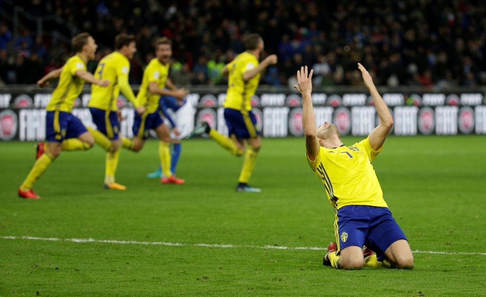 Sebastian Larsson falls to his knees at the final whistle.