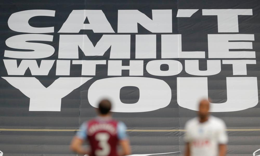 A banner in the stands at the Tottenham Hotspur Stadium for the game against West Ham last week.