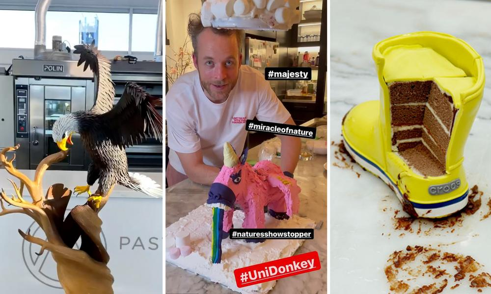 composite of elaborate cakes, with a Hamish Blake creation