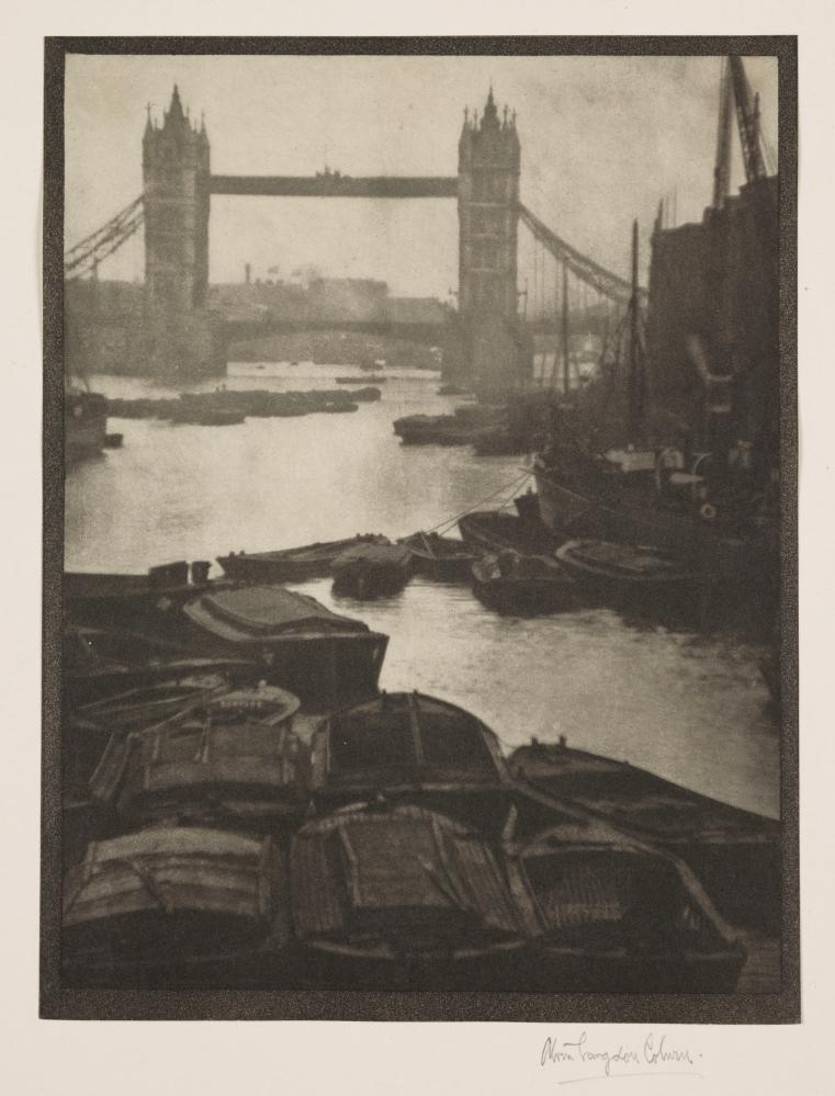 Tower Bridge, London, with barges in river