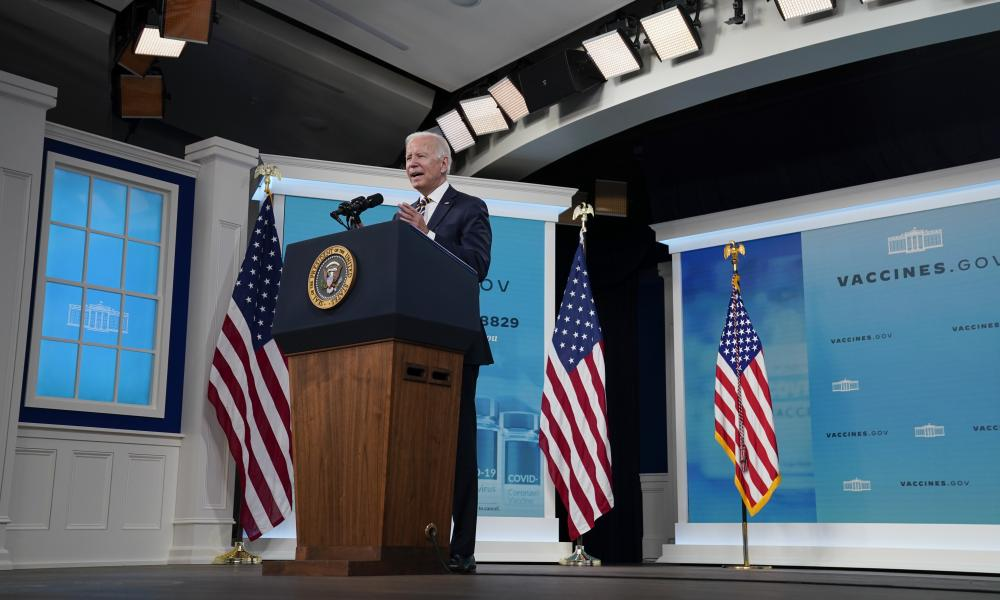 President Joe Biden delivers an update on the Covid-19 response and vaccination program, in the South Court Auditorium on the White House campus.
