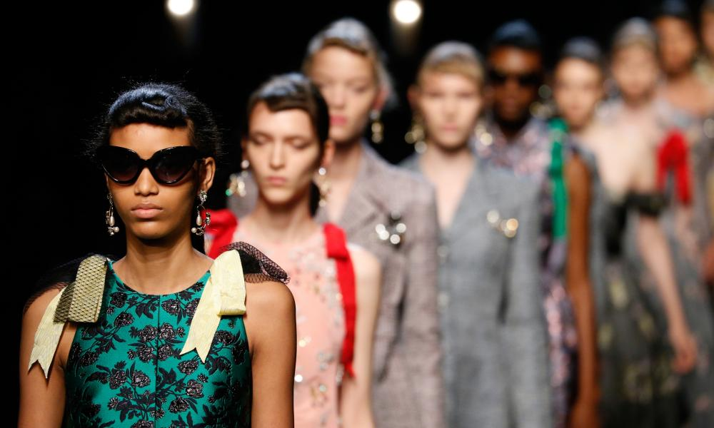 Models on the catwalk at the Erdem show