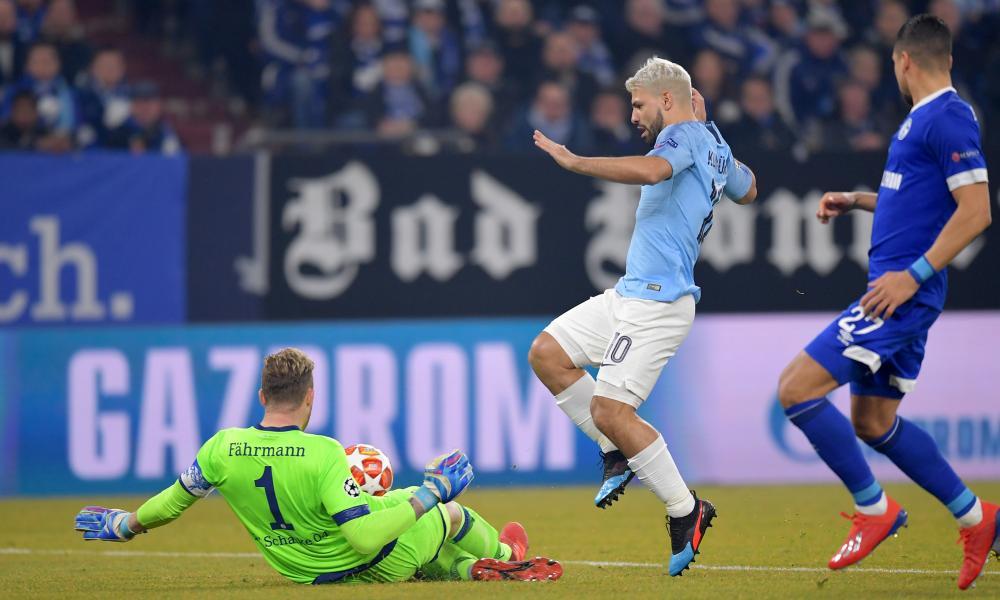 Ralf Faehrmann thwarts Sergio Aguero of Manchester City.