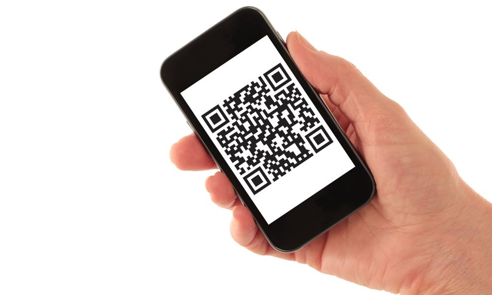 Smartphone with QR code (fictitious)