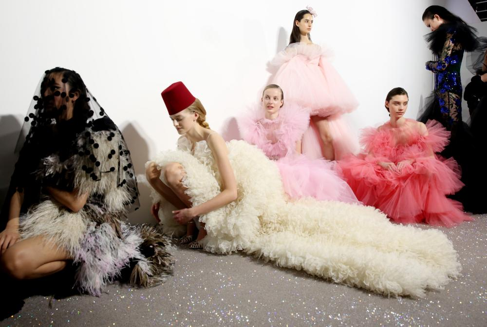 Models backstage at Giambattista Valli.