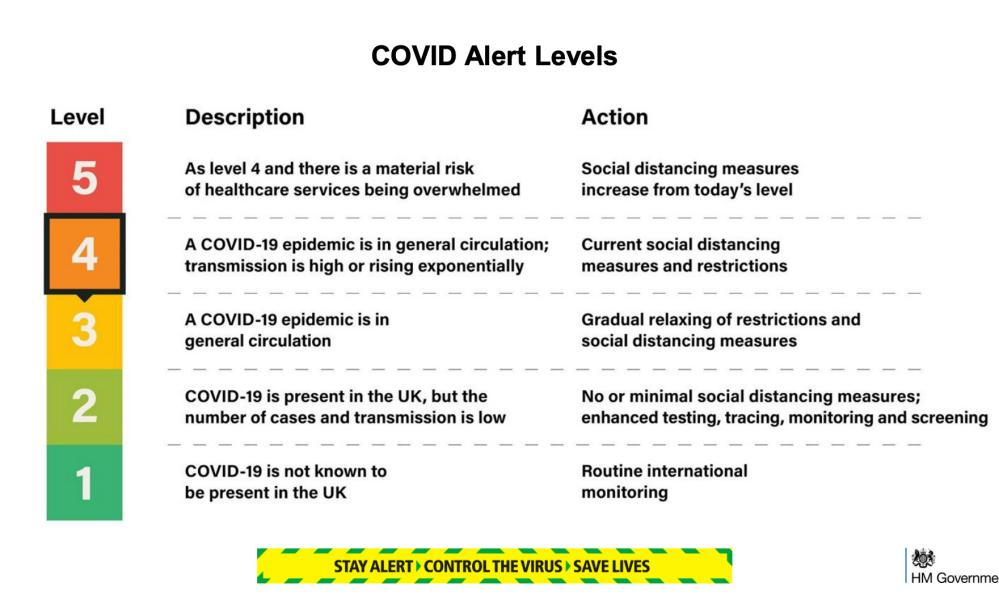 Government alert levels - from No 10 slide show on 18 May.