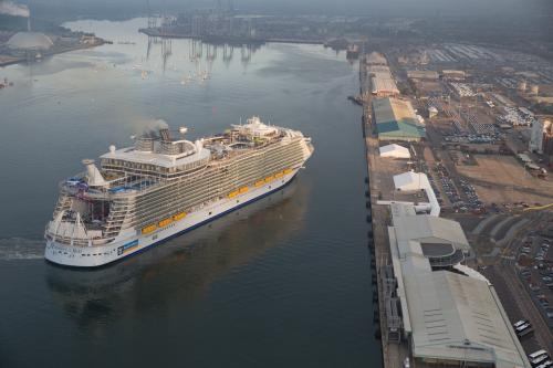 Harmony of the Seas, the world's largest cruise ship, sails into Southampton