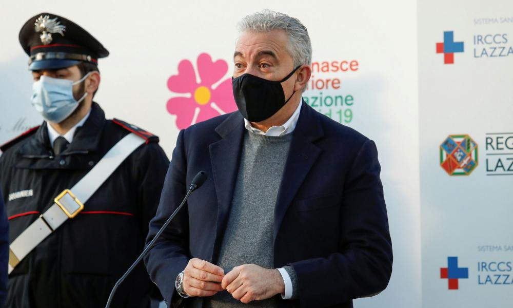 Special Commissioner for the Covid emergency Domenico Arcuri speaks during a news conference as Italy begins vaccinations in December.