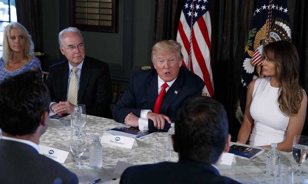 Donald Trump speaks during a briefing on the opioid crisis on 8 August at Trump National Golf Club in Bedminster, New Jersey.