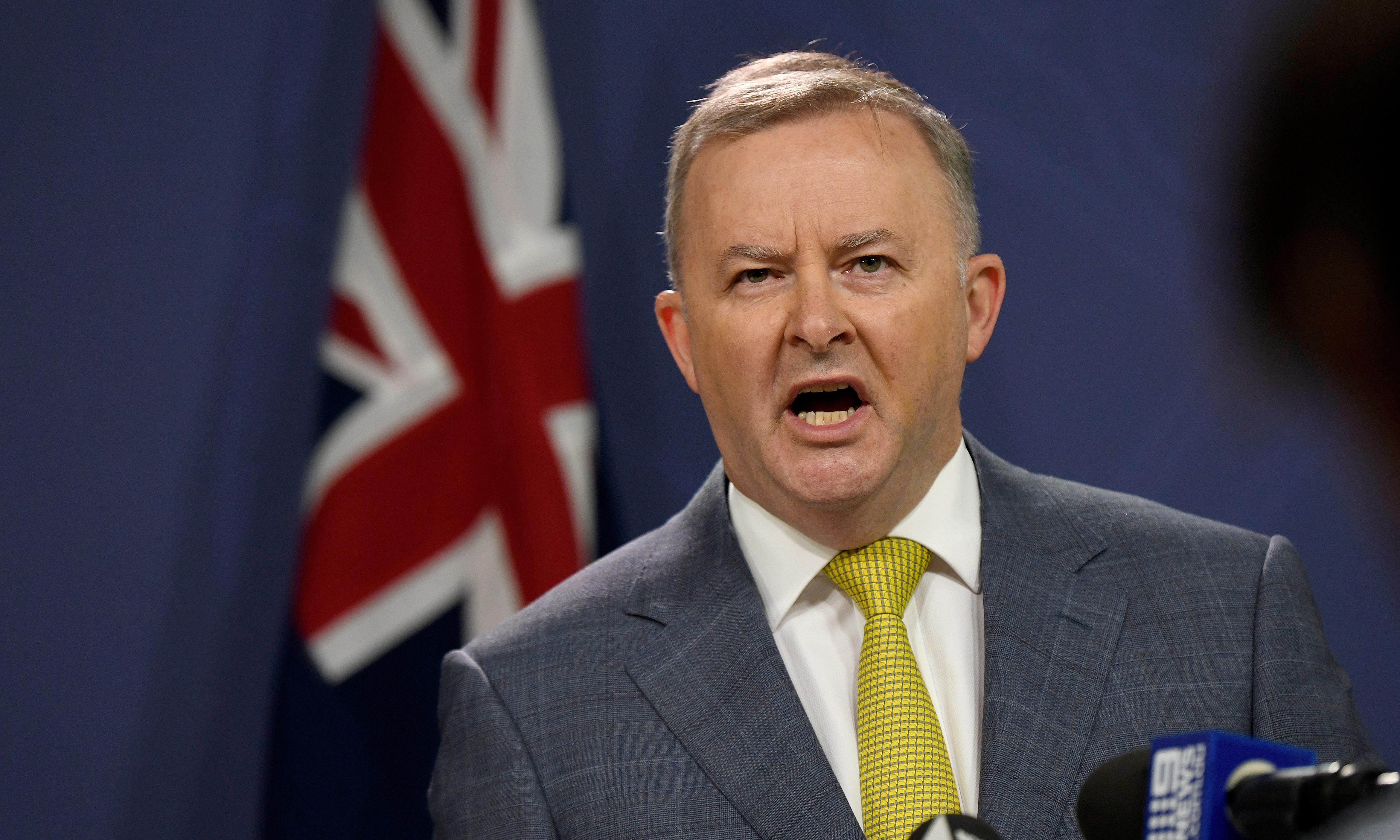 Anthony Albanese flags 'ambitious' emissions target but won't recommit to 45% reduction