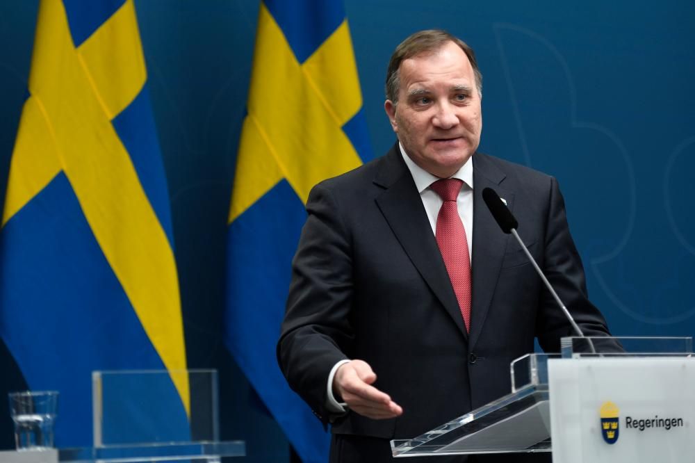 Sweden's prime minister, Stefan Lofven, at a news conference on the coronavirus situation, in Stockholm, earlier today