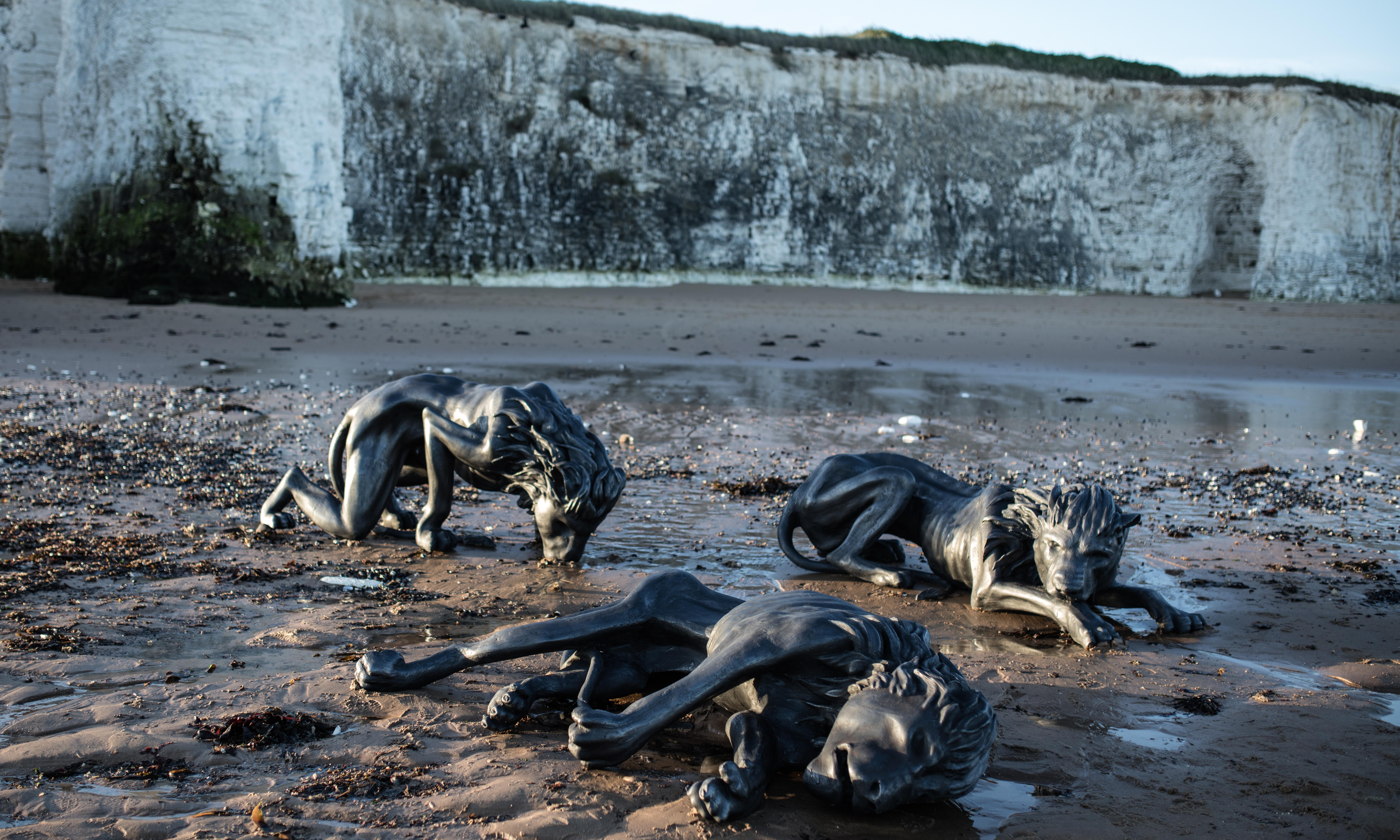 Three lions on a beach: a sculpture for the age of Brexit
