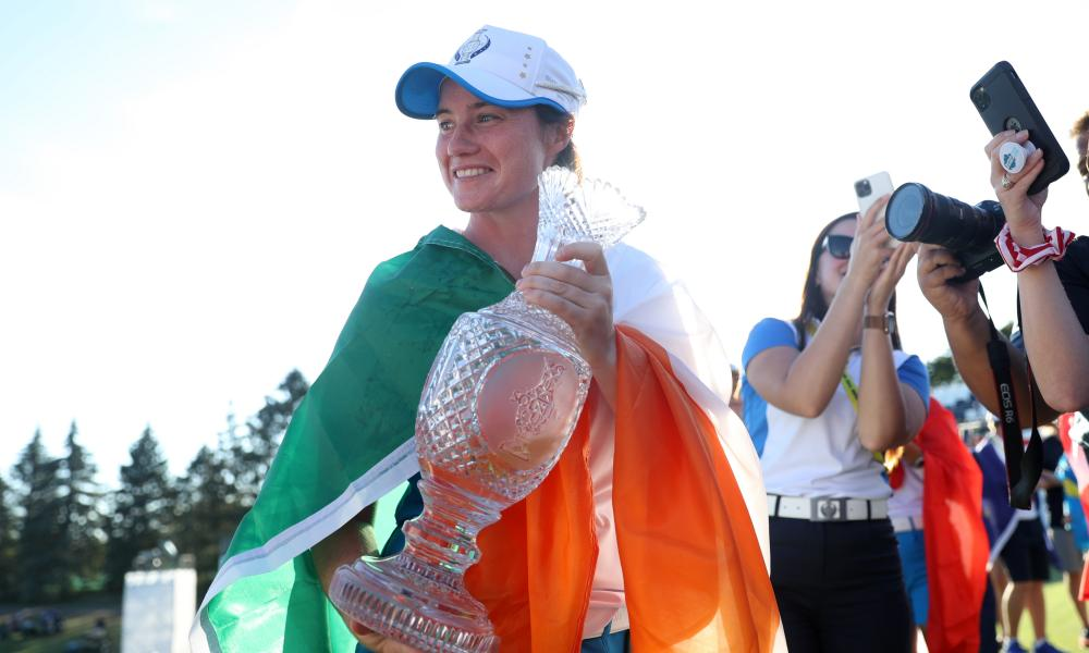 Leona Maguire with the Solheim Cup after starring in Europe's upset win over the United States.
