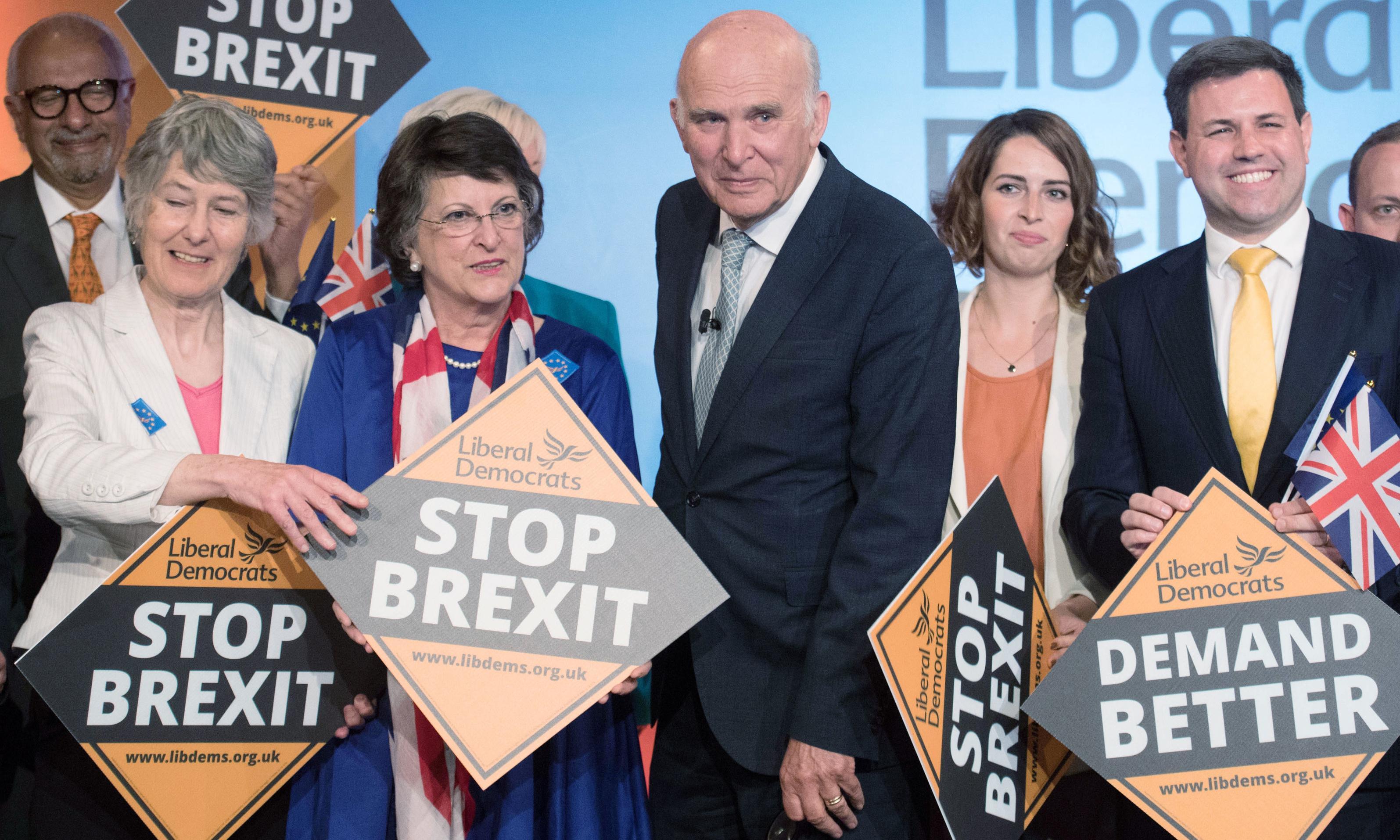 Lib Dems launch EU election campaign with 'Stop Brexit' message