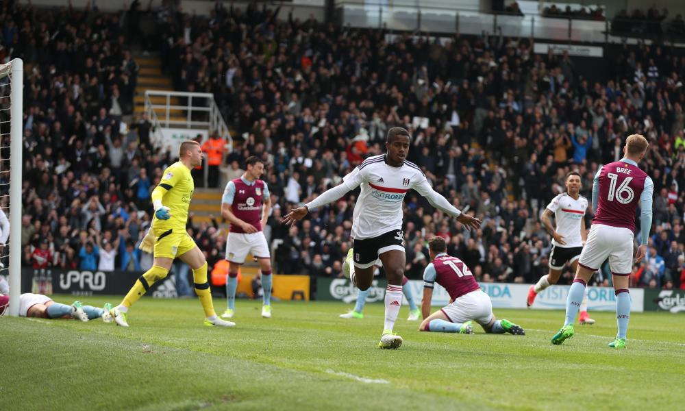 The 16-year-old Ryan Sessegnon celebrates scoring Fulham's opener in the win against Aston Villa on Monday.