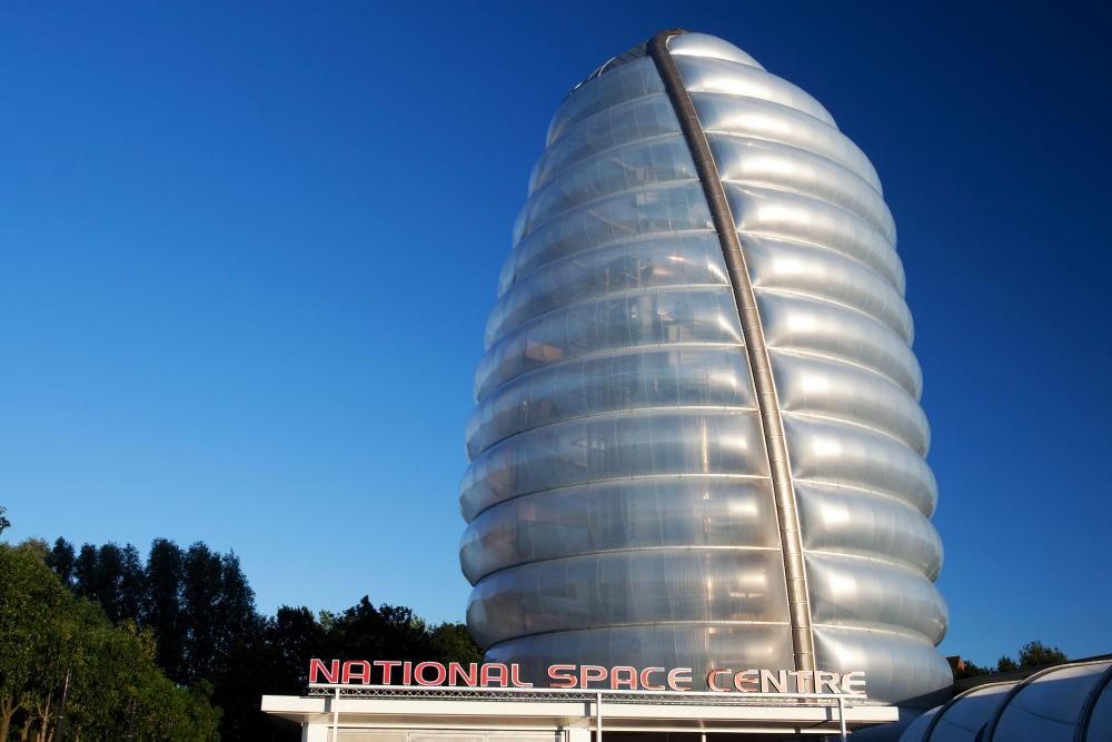 A pair of rockets enveloped in a mysterious cocoon … the National Space Centre, Leicester.