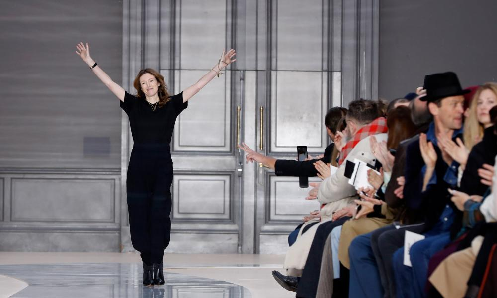 British-born designer Clare Waight Keller after Chloé's AW17 ready-to-wear show at Paris fashion week.